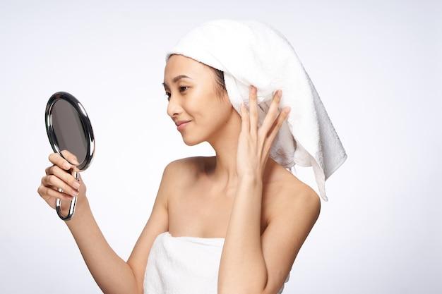 뷰티 아시아 여성 스킨 케어, 뷰티 프리미엄 사진