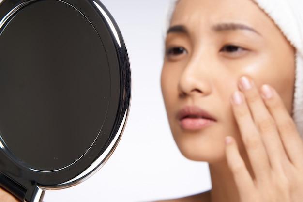 아름다움 아시아 여자 피부 관리, 아름다움 프리미엄 사진