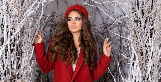 서리가 내린 겨울 공원에서 아름다움 매력적인 여자. 빨간 니트 모자, 물결 모양의 놀라운 헤어 스타일, 전체 입술과 밝은 메이크업에 아름 다운 젊은 여자. 무료 사진