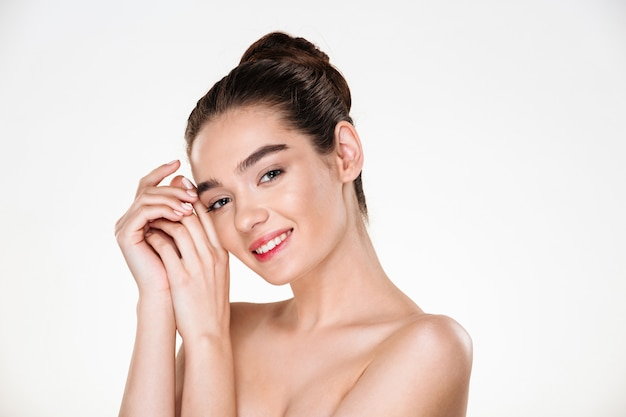 Beauty portrait of adorable half-naked woman with perfect skin looking Free Photo