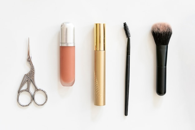 Beauty products in flat lay Free Photo