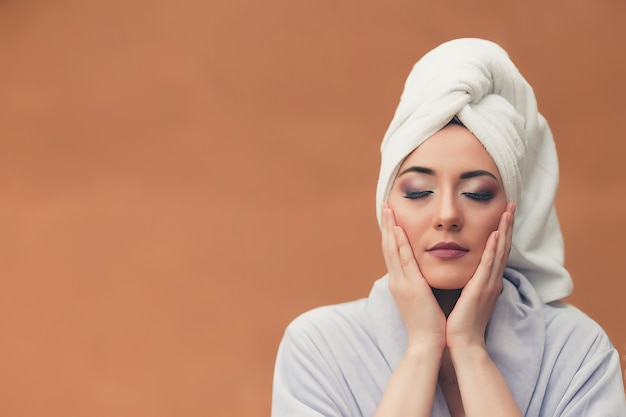 Beauty & skin care concept. beautiful young woman with clean perfect skin. spa, skincare and wellness. Premium Photo