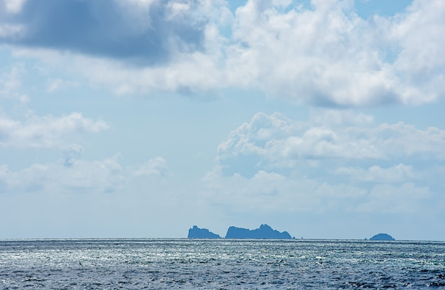 The beauty of the sky in the sea and island at chumphon in thailand. Premium Photo
