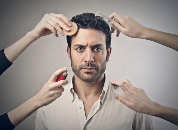 Beauty treatment for a man Premium Photo