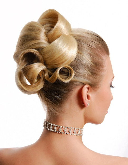 白で隔離される美容結婚式髪型リアビュー 無料写真
