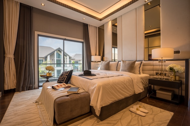Bed and nightstand in modern bedroom and equipment for a comfortable and restful experienc Premium Photo
