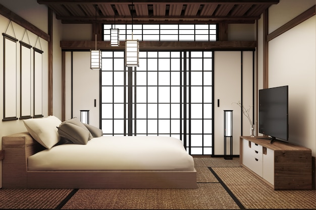 Bed room, japanese bed room interior has lamp and smart tv. 3d rendering Premium Photo
