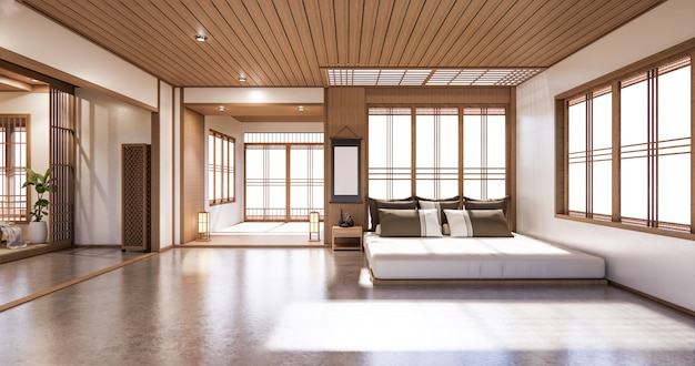 Bed room japanese design on tropical room interior and tatami mat floor Premium Photo