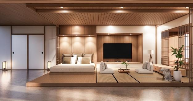 Bed room japanese design on tropical room interior and tatami mat floor Premium Photo