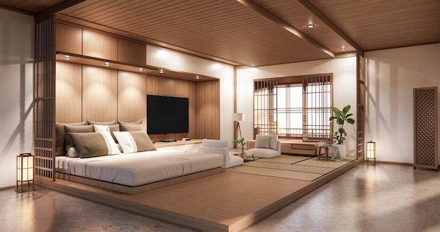 Premium Photo Bed Room Japanese Design On Tropical Room Interior And Tatami Mat Floor