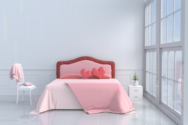 Wondrous Bed Room Of Love On Valentine S Day Red Heart On Pink Bed Spiritservingveterans Wood Chair Design Ideas Spiritservingveteransorg