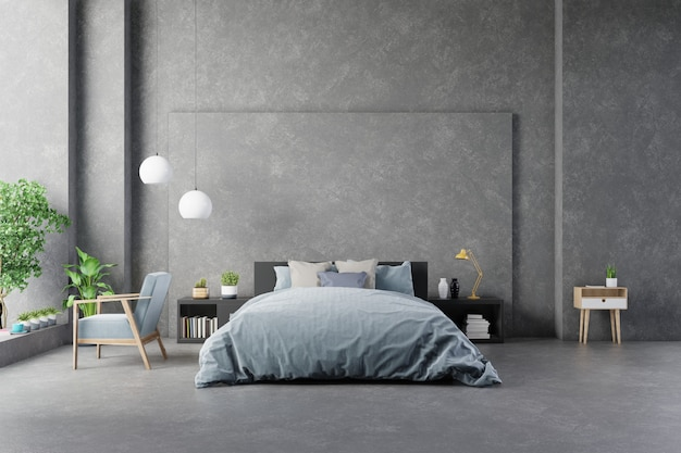 Bed with sheets in bedroom interior concrete wall and modern furniture. Premium Photo
