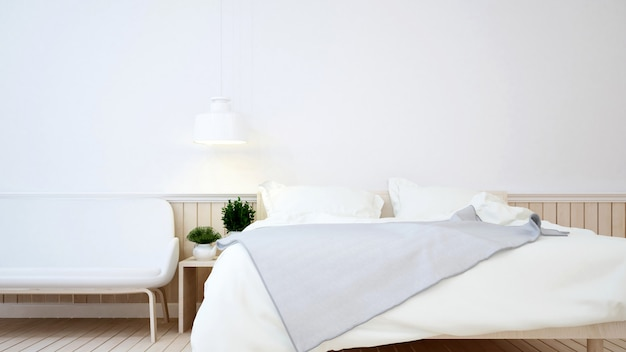 Bedroom in apartment or hotel - 3d rendering Premium Photo
