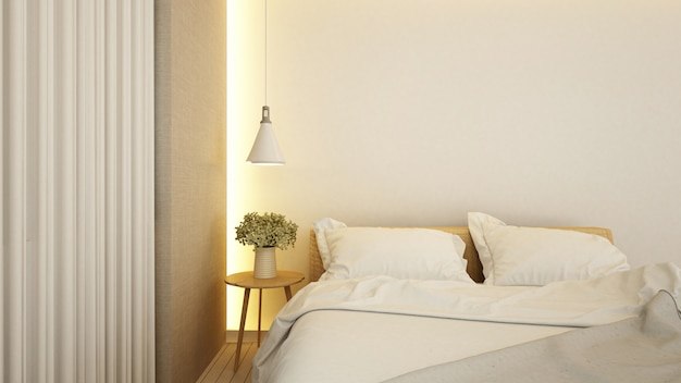 Bedroom in hotel or apartment - 3d rendering Premium Photo