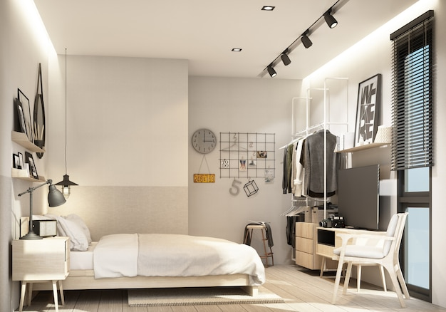 Bedroom interior modern natural style 3d rendering Premium Photo