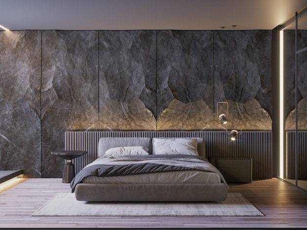 Bedroom interior with black stone wall  side table lamp and wooden floor Premium Photo