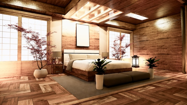 Premium Photo Bedroom Japanese Interior Design 3d Rendering