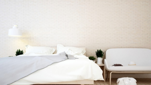 Bedroom and living area brick wall in apartment or home Premium Photo