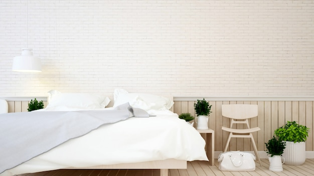 Bedroom and living area brick wall in apartment or hotel Premium Photo