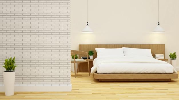 Bedroom and living area in condominium or hotel -3d rendering Premium Photo