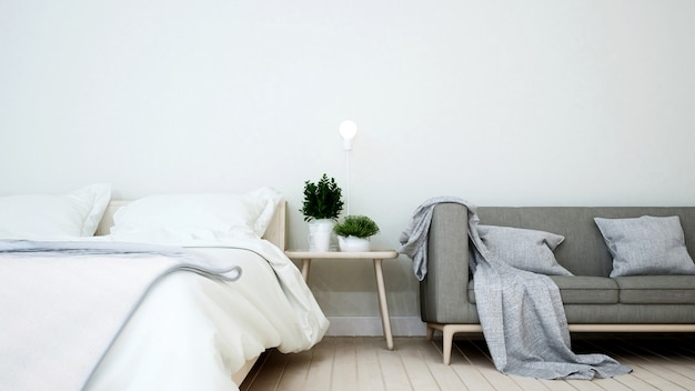 Bedroom and living area in home or apartment Premium Photo
