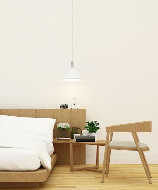 Bedroom and living area in wooden design - 3d rendering Premium Photo