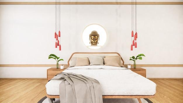침실은 일본 최소한의 디자인에 나무 침대를 조롱. . 프리미엄 사진