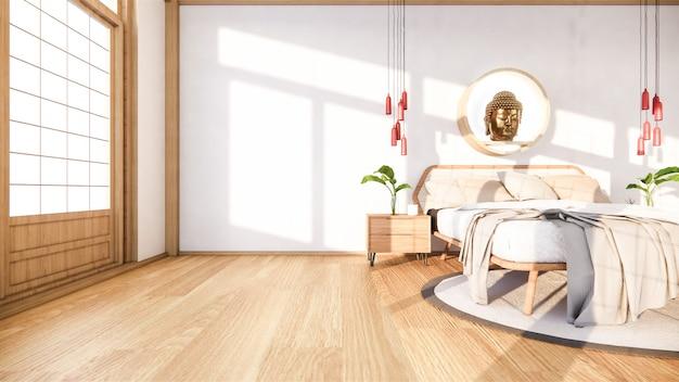 Bedroom mock up with wooden bed in japan minimal design. . Premium Photo
