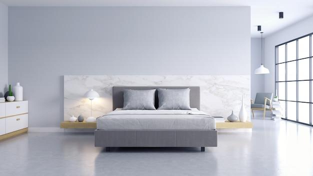 Bedroom and modern loft style Premium Photo
