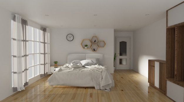Bedroom and modern loft style Premium Photo