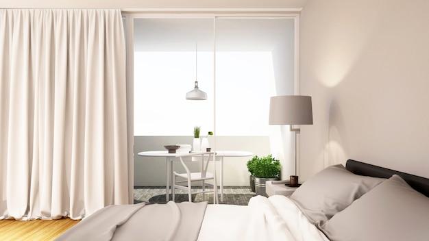 Bedroom white tone clean design - 3d rendering Premium Photo