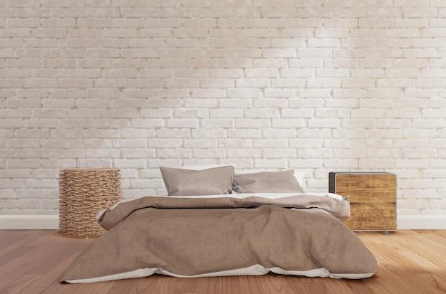 Bedroom with white brick wall, wooden floor, cabinet,lamp,mock up 3d rendering Premium Photo