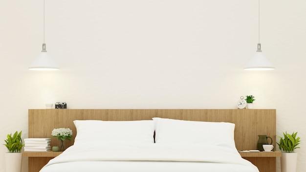 Bedroom in wooden design - 3d rendering Premium Photo