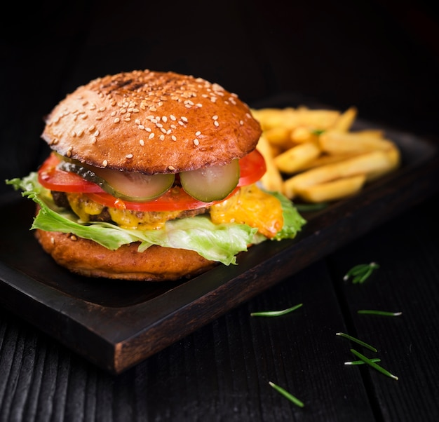 Beef burger ready to be served Free Photo