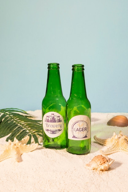 Beer bottles on beach with shells Free Photo