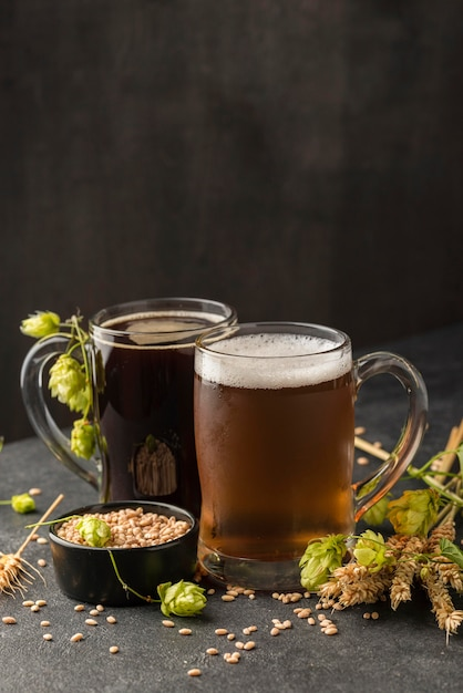 種子とビールジョッキの配置 無料写真