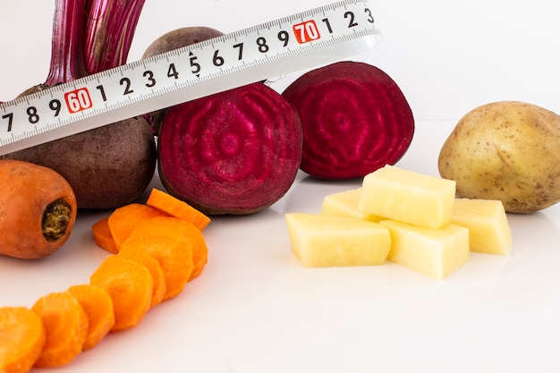 Beet juice with carrot with a white background Premium Photo
