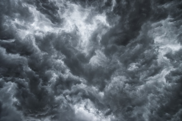 Before heavy rain storm. a lot of lightning and strong wind. the dark clouds sky is look like a big black smoke. Premium Photo