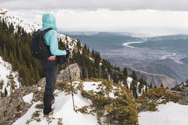 Позади человека, стоящего на вершине карпатских гор, с видом на реку олт в румынии. Бесплатные Фотографии