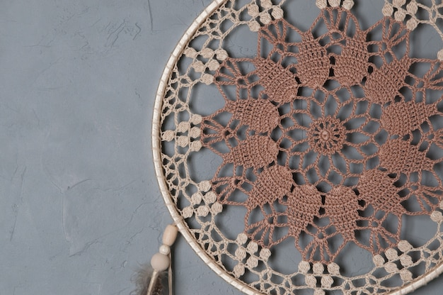 Beige broun crochet doily dream catcher Premium Photo