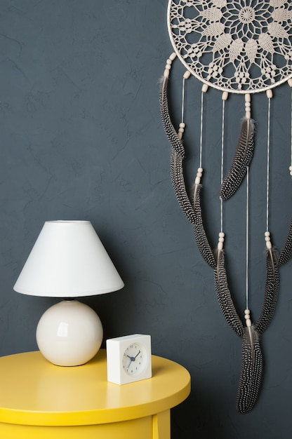 Beige crochet doily dream catcher Premium Photo
