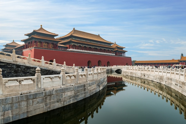 Beijing ancient royal palaces of the forbidden city in beijing, china. Premium Photo