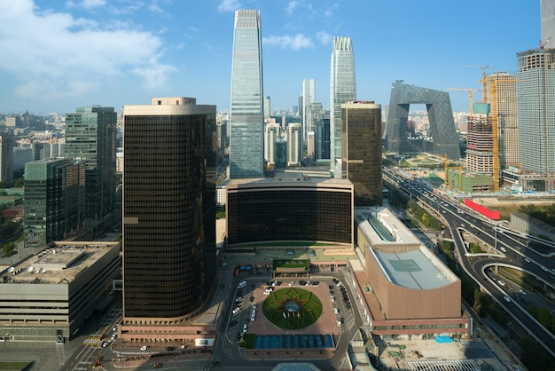 Beijing central business district skyscrapers building at daytime in beijing ,china. Premium Photo