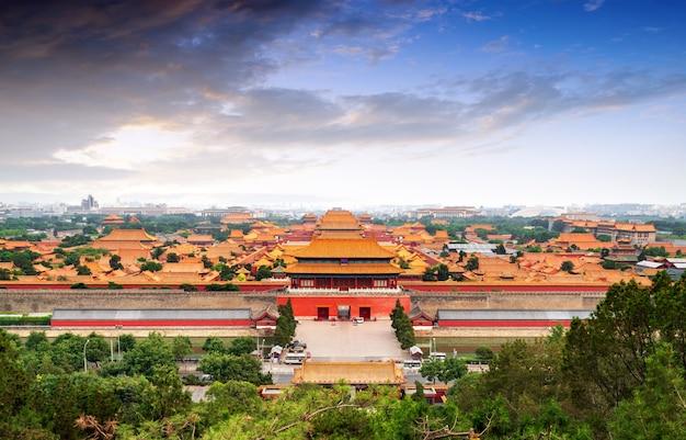 Beijing forbidden city panorama. Premium Photo