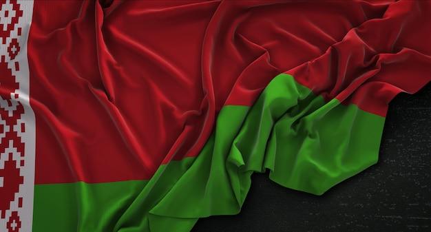 Флаг беларуси с морщинами на темном фоне 3d render Бесплатные Фотографии