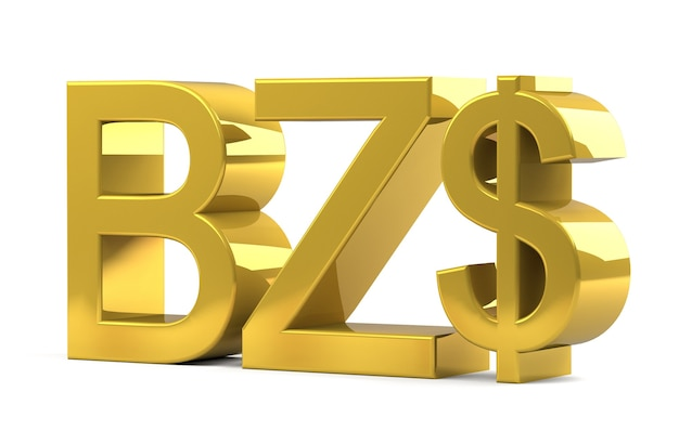 Belize dollar currency sign symbols gold color isolated on white background. 3d rendering. Premium Photo