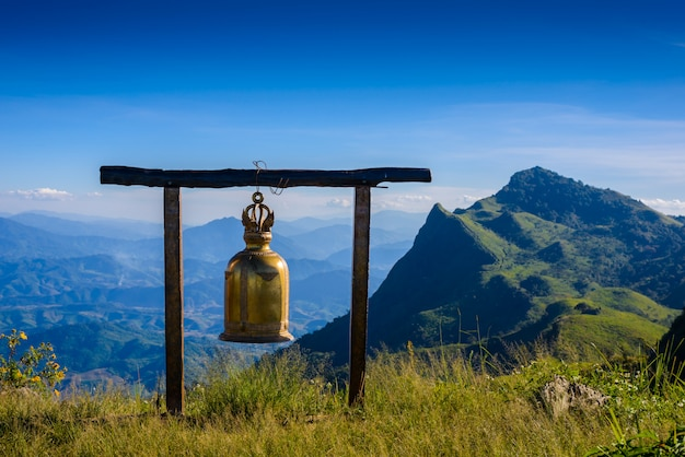Bell on doi pha tang viewpoint ,chiang rai province in thailand.  beautiful location Premium Photo