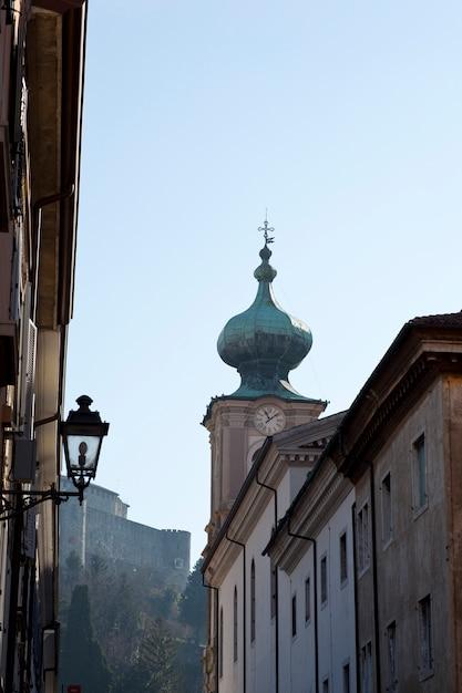Bell tower, st. ignatius church in gorizia Premium Photo