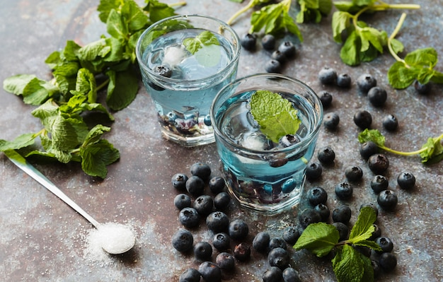Berries and mint around refreshing blueberry drinks Free Photo