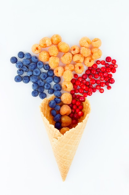 Berries in wafer cup Premium Photo